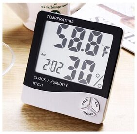 Digital Hygrometer Thermometer Humidity Meter With Alarm Clock HTC-1