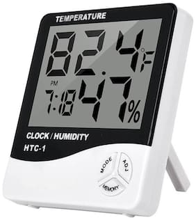 Digital Indoor/Outdoor Thermo-hygrometer Temperature Humidity Meter Tester with Time/Clock (Assorted Color) 1Pc