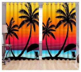 Digital Print Curtains for Long Door Eyelet Curtains (Set of 2 Pc);Size - 9x4 Feet By Fresh From Loom