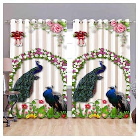 Digital Print Curtains for Window Eyelet Curtains 1 Pc only;Size - 5x4 Ft