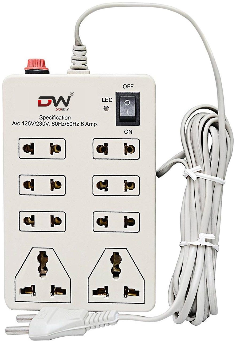 Digiway 8+1 Mini Extension Board,6 AMP Multi plug point Extension Cord- 2.4...