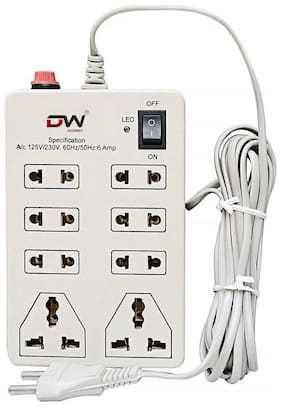 Digiway Cream Extension Board ( 2.5 m , 8 Socket , 1 Switches)