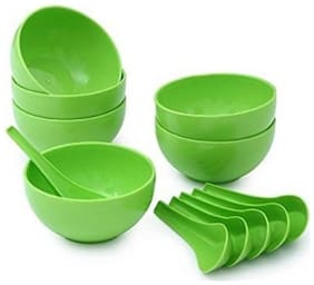 Digiway Multi Use Plastic Soup Bowl Set of 12 (Set of 6 Bowl & 6 Spoons)(Green)