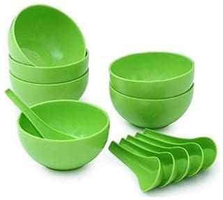 DIGIWAY SOUP BOWL SET OF 12 (6 SPOON & 6 BOWL )-GREEN