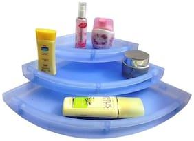 Digiway Unbreakable Premium Quality Bathroom Corner Stand (Blue)- Set of 3