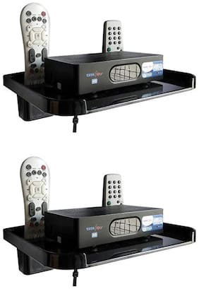 Digway Set Top Box Stand with 2 Remote Holder (Black)- Pack of 2