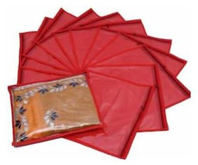 DIMONSIV Plain Pack Of 12 pcs Single Non woven Saree Cover Bags Packaging Storage Cloth Clear Plastic Zip Garment Cover (Red)