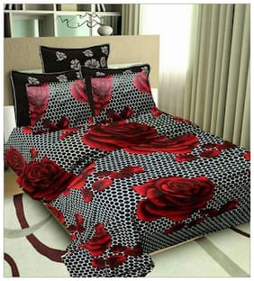 DINGGA DECOR Cotton Floral Double Size Bedsheet 150 TC ( 1 Bedsheet With 2 Pillow Covers , Multi )