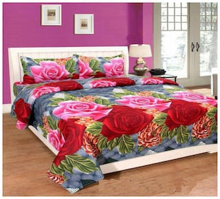 DINGGA DECOR Cotton Floral Double Size Bedsheet 150 TC ( 1 Bedsheet With 2 Pillow Covers , Multi )