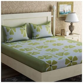 DINGGA DECOR Cotton Floral Double Size Bedsheet 150 TC ( 1 Bedsheet With 2 Pillow Covers , Green )