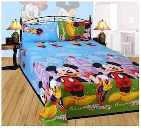 DINGGA DECOR Cotton Printed Double Size Bedsheet 150 TC ( 1 Bedsheet With 2 Pillow Covers , Multi )