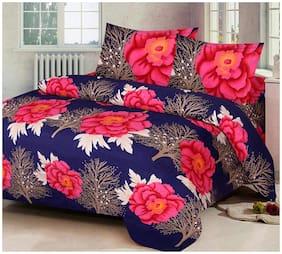 DINGGA DECOR Cotton Floral Double Size Bedsheet 104 TC ( 1 Bedsheet With 2 Pillow Covers , Blue )