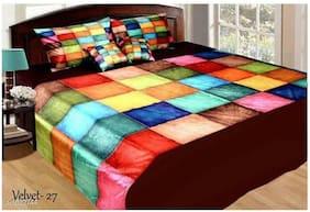 DINGGA DECOR Velvet Checkered King Size Bedsheet 300 TC ( 1 Bedsheet With 2 Pillow Covers , Multi )