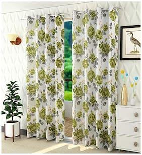 Dingga Decor Elegant Flower Print Long Crush Polyester Curtain, Pack Of 2 (Green, Long Door - 7 Feet) M25