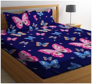 DINGGA DECOR Cotton Printed Double Size Bedsheet 260 TC ( 1 Bedsheet With 2 Pillow Covers , Blue )