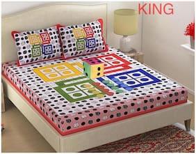 DINGGA DECOR Cotton Printed King Size Bedsheet 180 TC ( 1 Bedsheet With 2 Pillow Covers , Multi )