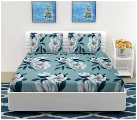DINGGA DECOR Cotton Floral Double Size Bedsheet 260 TC ( 1 Bedsheet With 2 Pillow Covers , Turquoise )