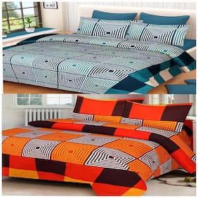 DINGGA DECOR Cotton Abstract Double Size Bedsheet 150 TC ( 2 Bedsheet With 4 Pillow Covers , Green & Orange )