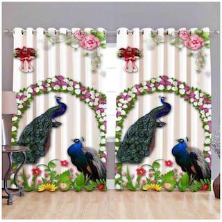 Dingga Decor 5 Feet Digital Printed Window Curtain with 2 piece Curtain (Full size Printed, Multicolor)