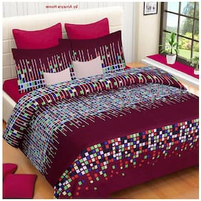 DINGGA DECOR Cotton Printed Double Size Bedsheet 170 TC ( 1 Bedsheet With 2 Pillow Covers , Maroon & White )