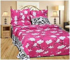 DINGGA DECOR Microfiber 3D Printed Double Size Bedsheet 110 TC ( 1 Bedsheet With 2 Pillow Covers , Pink )