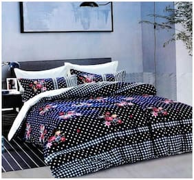 DINGGA DECOR Cotton Printed Queen Size Bedsheet 240 TC ( 1 Bedsheet With 2 Pillow Covers , Blue )