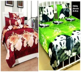 DINGGA DECOR Cotton Printed Double Size Bedsheet 180 TC ( 2 Bedsheet With 4 Pillow Covers , Multi )