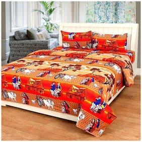 DINGGA DECOR Microfiber Printed Double Size Bedsheet 110 TC ( 1 Bedsheet With 2 Pillow Covers , Orange & Peach )