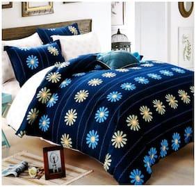 DINGGA DECOR Microfiber Floral Queen Size Bedsheet 130 TC ( 1 Bedsheet With 2 Pillow Covers , Blue )