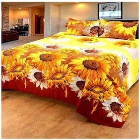 DINGGA DECOR Cotton Printed Double Size Bedsheet 170 TC ( 1 Bedsheet With 2 Pillow Covers , Yellow & Maroon )