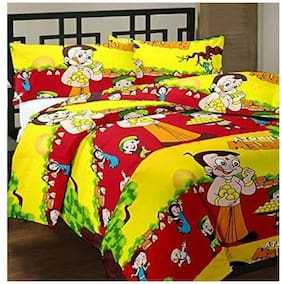 DINGGA DECOR Cotton Printed Double Size Bedsheet 170 TC ( 1 Bedsheet With 2 Pillow Covers , Yellow & Red )