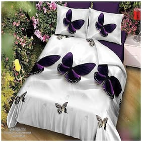 DINGGA DECOR Cotton Printed Double Size Bedsheet 170 TC ( 1 Bedsheet With 2 Pillow Covers , White & Purple )