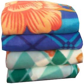 Dingga Decor;4 Pc Double Fleece Printed AC Blanket Multicolor (No color selection)