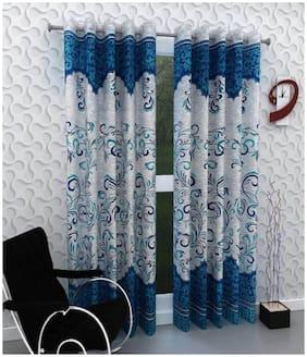 DINGGA DECOR Polyester Long Door Blackout Blue Regular Curtain ( Eyelet Closure , Printed )