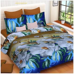 DINGGA DECOR Cotton Printed Double Size Bedsheet 110 TC ( 1 Bedsheet With 2 Pillow Covers , White & Blue )