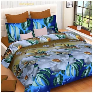 DINGGA DECOR Microfiber Printed Double Size Bedsheet 104 TC ( 1 Bedsheet With 2 Pillow Covers , White & Blue )