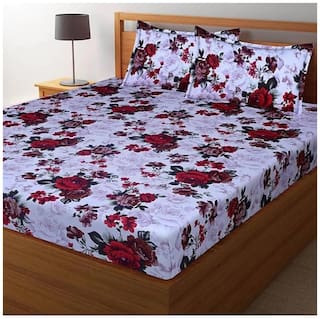 DINGGA DECOR Cotton Printed Double Size Bedsheet 170 TC ( 1 Bedsheet With 2 Pillow Covers , White & Red )