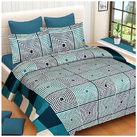 DINGGA DECOR Microfiber Printed Double Size Bedsheet 110 TC ( 1 Bedsheet With 2 Pillow Covers , Green & White )