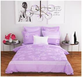 DINGGA DECOR Cotton 3D Printed Double Size Bedsheet 120 TC ( 1 Bedsheet With 2 Pillow Covers , Purple )