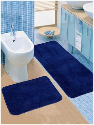 Dingga Decor Export Quality Anti-Skid Rugs Washable Mat in Kitchen Home Living Office Runner and Mat Set Pack of 2 (Blue)