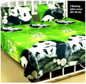 DINGGA DECOR Cotton 3D Printed Double Size Bedsheet 120 TC ( 1 Bedsheet With 2 Pillow Covers , Green )