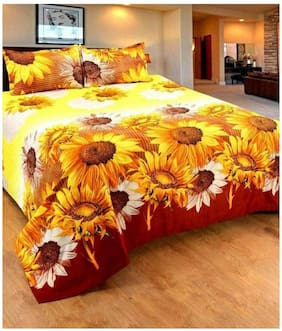 DINGGA DECOR Cotton 3D Printed Double Size Bedsheet 120 TC ( 1 Bedsheet With 2 Pillow Covers , Yellow )