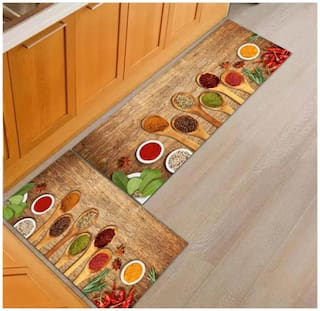 Dingga Decor Anti Skid Washable Digital Printed Luxury Kitchen Floor Mat,Combo Set of 2 ,Large MAT(18x55 inch) Small MAT(17x26 inch) Brown