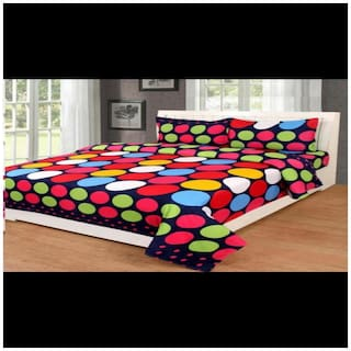 DINGGA DECOR Cotton Printed Double Size Bedsheet 170 TC ( 1 Bedsheet With 2 Pillow Covers , Red & Green )