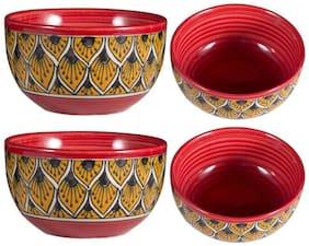 Dining Katori Bowl Ceramic/Stoneware in Orange Morocco Handmade By Caffeine-Set of 4