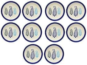 Dinner Plate 25.4 cm (10 inch) Ceramic/Stoneware in Blue Boota Handmade By Caffeine-Set of 10