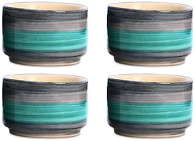 Dip and Sauce Round Serving Bowl Ceramic/Stoneware in Seagreen and Grey Studio (Set of 4) Handmade By Caffeine