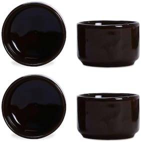 Dip and Sauce Round Serving Bowl Ceramic/Stoneware in Black Doodle (Set of 4) Handmade By Caffeine