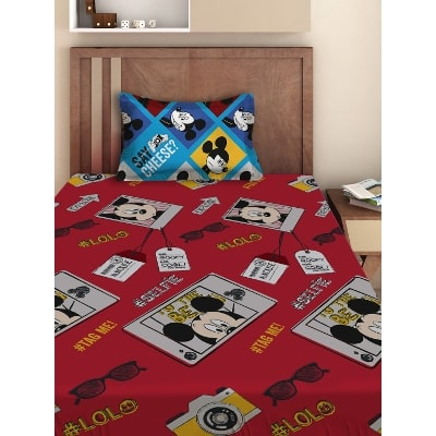 Disney  Athom Trendz  Mickey Mouse Cotton Single Bed Sheet Set  Red