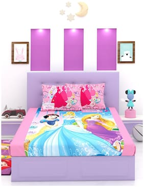 Disney Cotton Printed Double Size Bedsheet 180 TC ( 1 Bedsheet With 2 Pillow Covers , Multi )